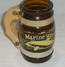 "Marine World MINI Stein Mug Amber Brown Glass 3"" Africa USA Miniature"