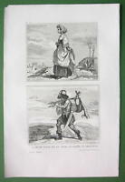 HOLY LAND Jewish Woman Hunter - Antique Print Engraving