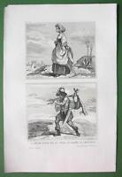 HOLY LAND Jewish Woman Hunter - Antique Print Engraving