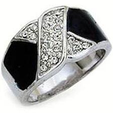 H12 Black Enamel Crystal RING Rhodium Plating Sz 7