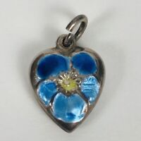 Vintage 1940's Sterling Blue Enamel Silver Puffy Heart Bracelet Charm Two Sided
