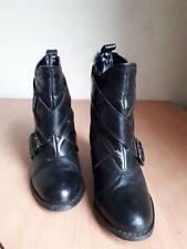 Ladies Womens RED herring  ,Ankle boot,Leather,Black,Buckle,Mid block,UK 5/ 38