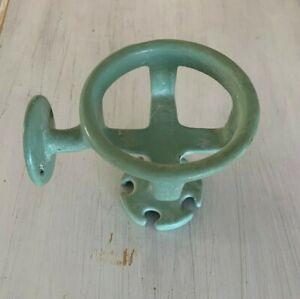 Antique Vtg Cast Iron Jadeite Green Cup Toothbrush Holder Porcelain Old  74-20J