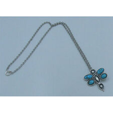 .925 Sterling Silver Natural Kingman Island Turquoise Dragonfly Chain Necklace