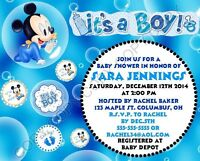 Mickey Mouse Baby Shower Invitations 12 pk Personalized It's a Boy
