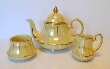 Vintage SADLER Lustre Yellow Teapot Creamer Sugar Bowl Set