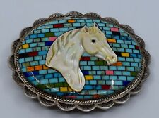 Amazing gem inlay, shell carved horse sterling silver belt buckle decorated back