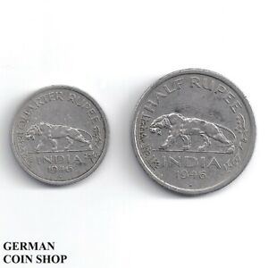 Set India Quarter Half Rupee 1946 - 1/4 1/2 Rupee Nickel