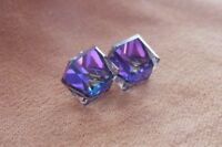 Tilted Cube Hypoallergenic  Swarovksi Elements Crystal in Heliotrope Color