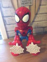 """Hasbro Marvel 2006 Talking Web Firing Spiderman Figure 11"""" Tall Eyes Light Up"""