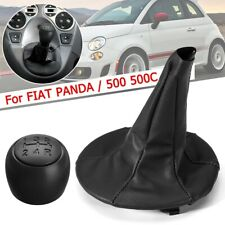 Gear Shift Knob With PU Leather Gaiter Boot Cover For FIAT PANDA 2003-2012