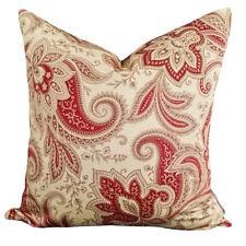 Rustic Retreat Crimson Red Paisley Vintage Designer Cushion Pillow Cover Cotton