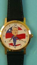 President Bill Clinton Caricature Backwards Running Black Leather Watch New!