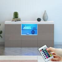 Modern TV Cabinet Sideboard Unit Cupboard Matt Body & High Gloss Doors FREE LED