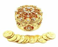 Gold Metal Round Rhinestone Wedding Arras de boda Box Set with Unity Coins