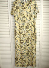 Tommy Bahama Long Silk Dress Sz 10 Yellow Tropical Green Leaves Orchid Flowers