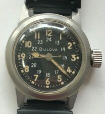 VINTAGE BULOVA MIL-W-3818A 10BNCH US MILITARY HACK MENS WATCH, 24H, MANUAL WIND
