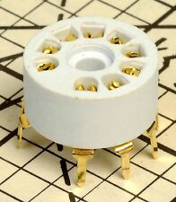 9 Pin White Phenolic Gold Contact PC Board Tube Socket 12AX7 6DJ8 7199 6AN8