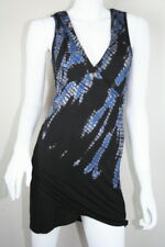 New Gypsy Black Blue Bamboo Sleeveless Tie Dye Faux Wrap V Neck Dress XS 0 2