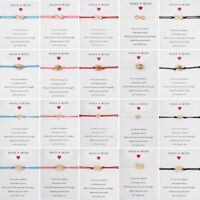 Make A Wish Heart Braided Bracelet Friendship Family Card Bangle Women Jewelry