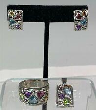 3-Pc Sterling Silver Trillion Cut Gemstones Jewelry Set Earrings, Ring & Pendant