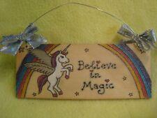 "Handmade Alicorn Unicorn Room Sign ""Believe In Magic"" Rainbow Stars Pegasus"