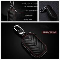 Universal Black Genuine Leather Key Holder Key Purse Bag Smooth Zipper for Car