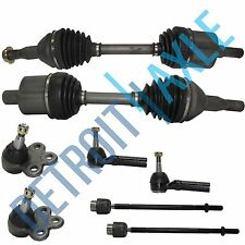 8pc Kit: 2 Front CV Axle Shaft + 2 Lower Ball Joint + Inner Outer Tie Rod Ends