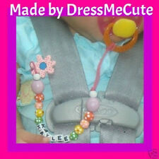 wooden beaded pacifier clip holder personalize boy/girl
