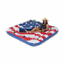 Intex Inflatable American Flag 2 Person Party Island Lake Pool Float (Used)