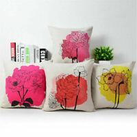 18inch Daisies Flower Cotton Linen Pillow Case Sofa Throw Cushion Cover Decor