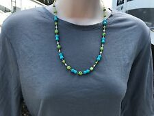 Handmade Necklace of Blue and White Magnesite with Green Chalk Turquoise Beads