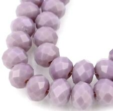 25 Czech Glass Faceted Rondelle Beads - Opaque Amethyst 8x6mm