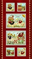 """24"""" Fabric Panel - Henry Glass All Cooped Up Country Chicken Wallhanging Red"""