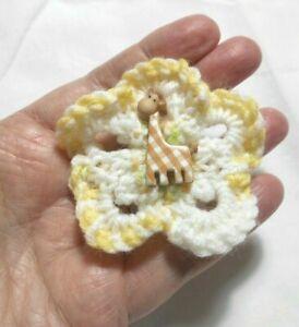 Handmade knitted hair clip / barrette, 7cm dia. Giraffe, Child / woman
