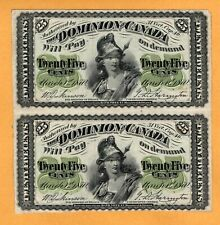 Dominion of Canada Uncut Pair 25 Cents 1870 P-8a DC-1c VF/XF No Plate Banknote