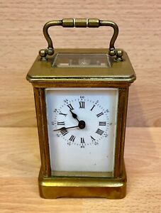 Antique Solid Brass Cased Key Wound Carriage Clock Working.