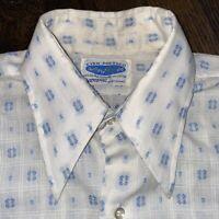 Vtg 50s 60s NATIONAL Shops Dress Shirt EVER PRESSED Mid Century Taper Mens 15.5