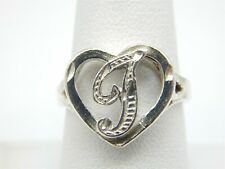 STERLING SILVER 925 INITIAL LETTER CURSIVE T HEART BAND RING SIZE 8.25