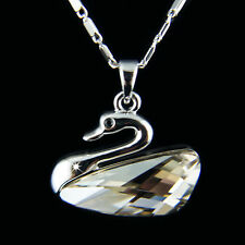 18k white Gold GF Swan Diamond simulated crystal classy pendant necklace