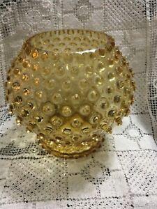Large Retro Vintage Amber Hobnail Round Glass Vase.