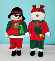 "Trim-A-Home Christmas Kids 28"" MR. & MRS. SNOWMAN Poseable Plush Figure Set #2"