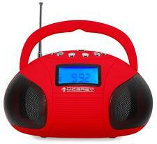 Mini Stereo Anlage Tragbarer USB SD AUX MP3 Player Radio Wecker Boombox rot