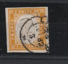 FRANCOBOLLI 1859 SARDEGNA 80 C. GIALLO ARANCIO Z/2425