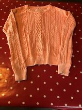 Superdry Ladies Orange Cotton Cable Knit Jumper Size Small