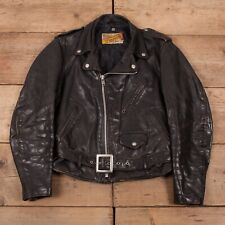 "Mens Vintage 90s Schott Perfecto Black Leather Biker Jacket USA M 38"" R17443"