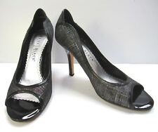 WHITE HOUSE BLACK MARKET PUMP OPEN TOE SHOES SIZE 9M BLACK FABRIC LEATHER SOLE
