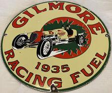 New ListingVintage Gilmore Gasoline Porcelain Sign, Gas Station, Pump Plate, Lion Motor Oil