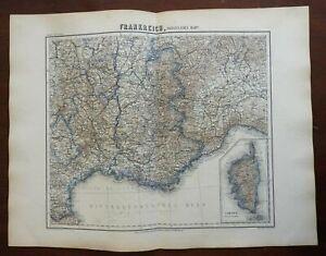 Southern France French Riviera Marseilles Savoy Corsica 1873 Ravenstein map