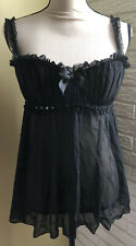 Fredericks of Hollywood Black Sheer Lingerie Large Lace Teddy ~ Good Used Condit